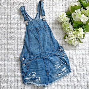 AEO Distressed Denim Overall Shorts